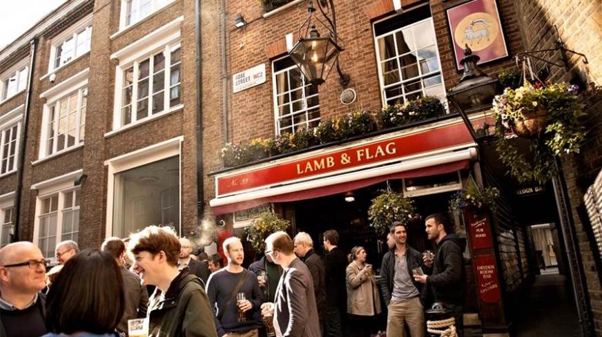 Image de la devanture du Lamb and flag à Londres
