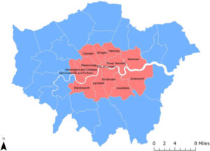 Image représentant la carte de la superficie de Londres