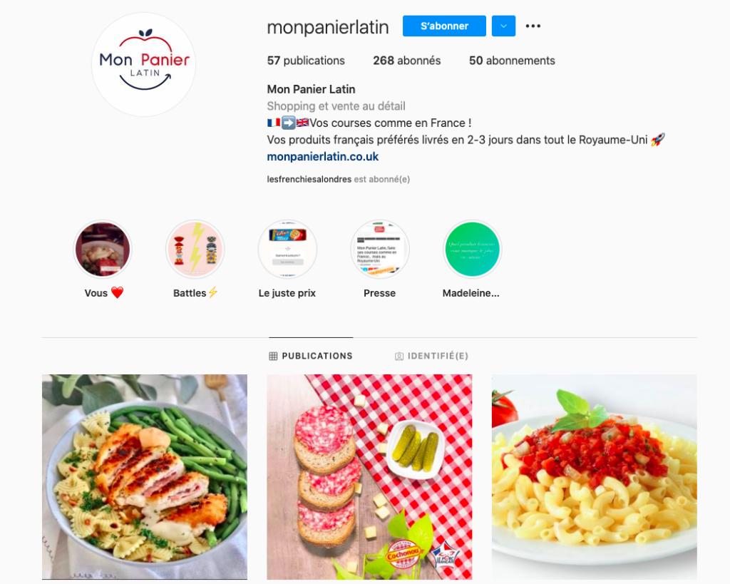 La page Instagram